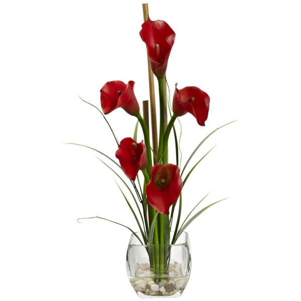 Nearly Natural 18 in. Calla Lilly Liquid Illusion Silk Flower Arrangement