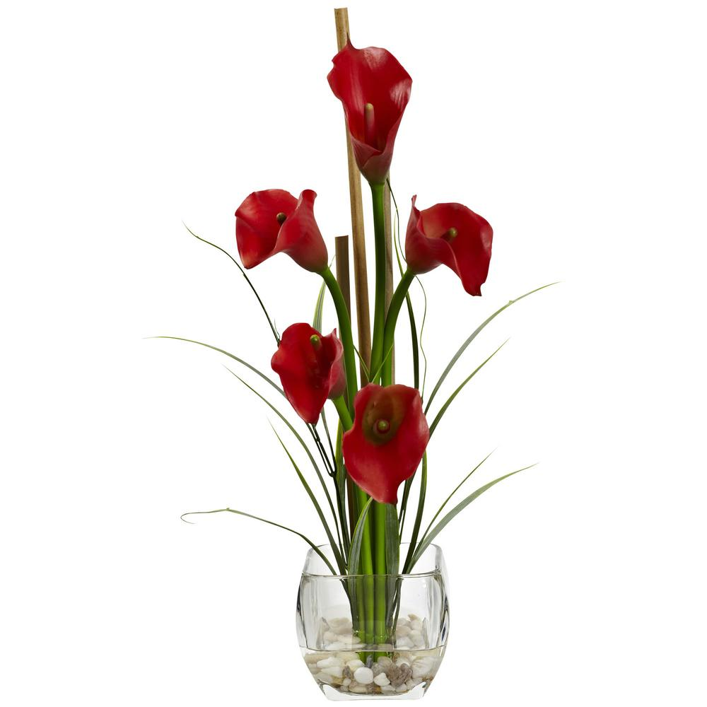 Nearly natural 18 in calla lilly liquid illusion silk flower calla lilly liquid illusion silk flower arrangement in red mightylinksfo Choice Image