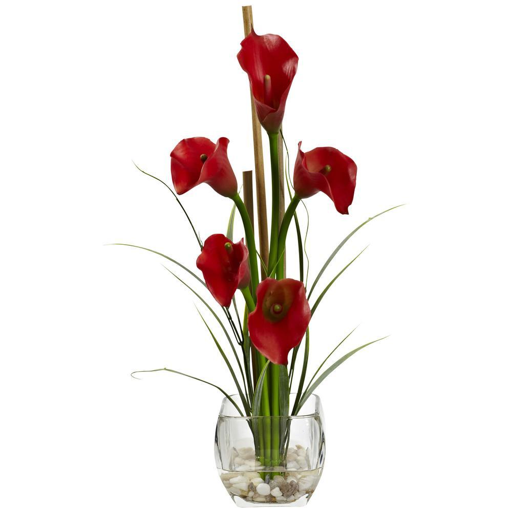 18 in. Calla Lilly Liquid Illusion Silk Flower Arrangement in Red