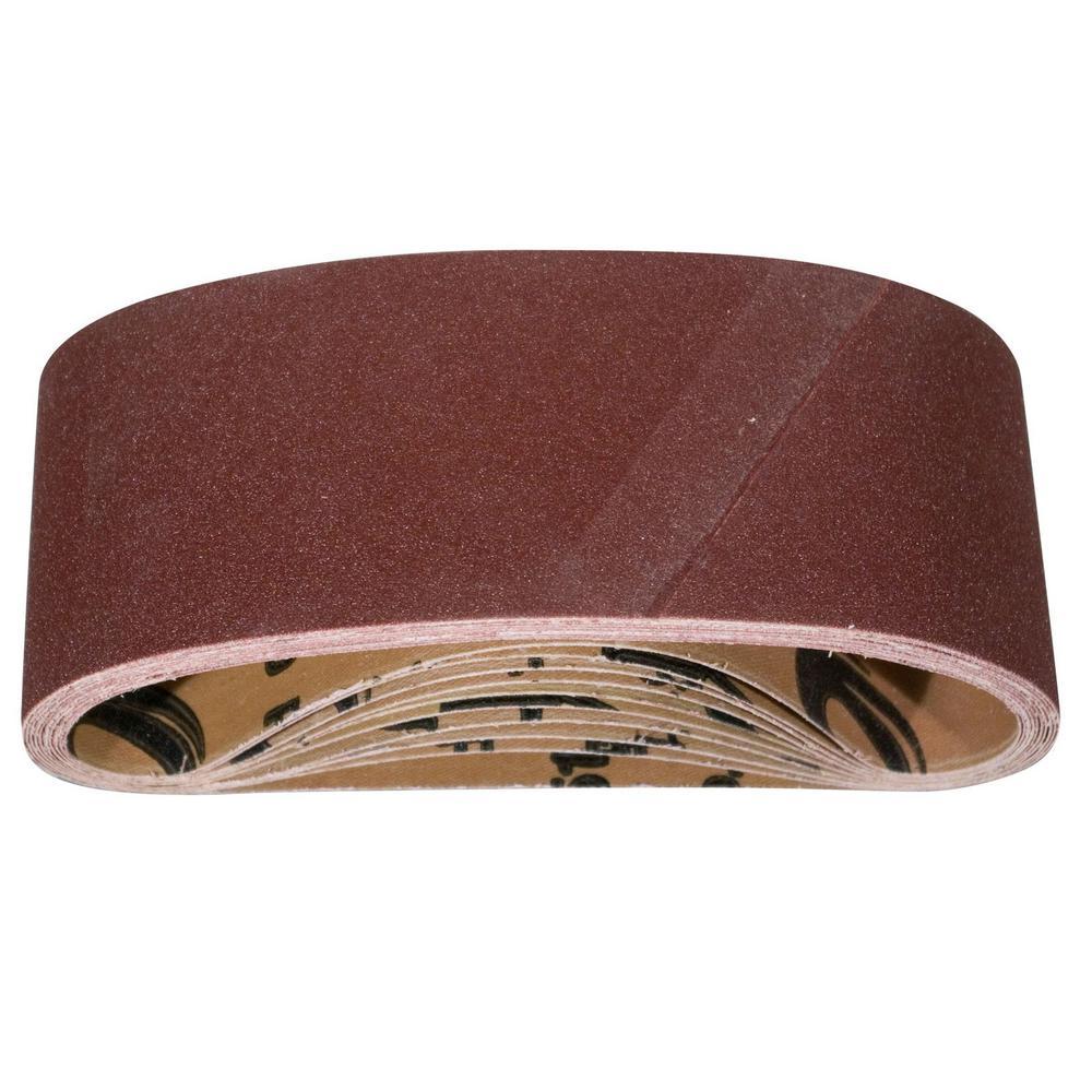 4 in. x 24 in. 240-Grit Aluminum Oxide Sanding Belt (10-Pack)
