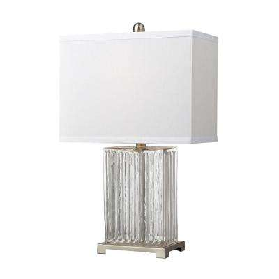 Brushed Steel Ribbed Clear Glass Table Lamp