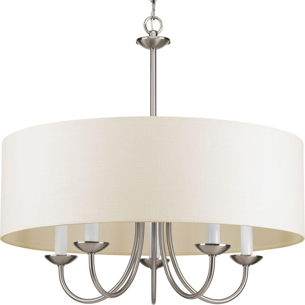 Progress Lighting 21 625 In 5 Light Brushed Nickel Chandelier With Beige Linen Shade