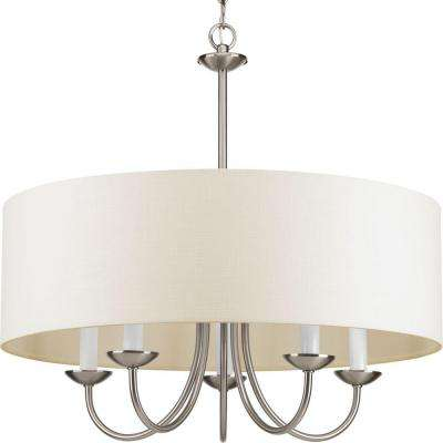 21.625 in. 5-Light Brushed Nickel Chandelier with Beige Linen Shade