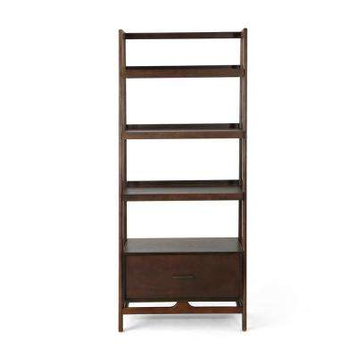Brantly Mid-Century Modern Walnut Brown Faux Wood Shelf with Bottom Drawer