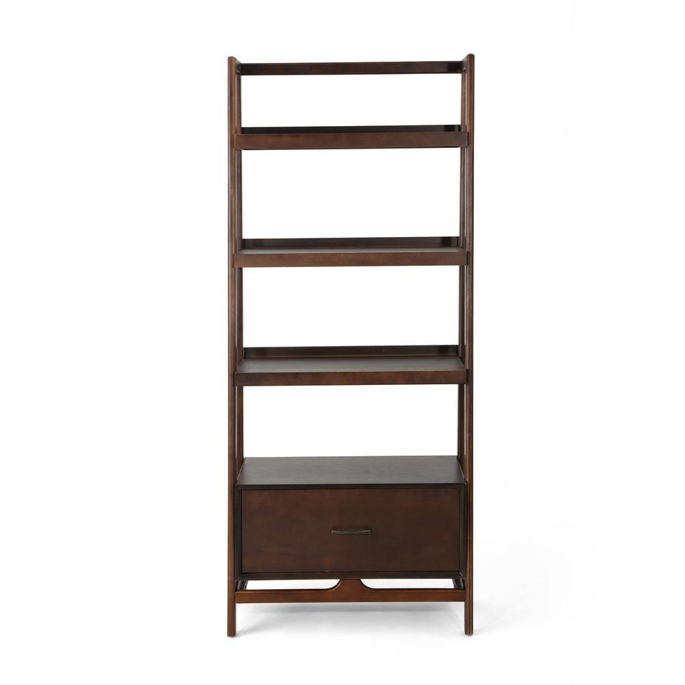 Brantly 70.75 in. Walnut Wood 4-Shelf Etagere Bookcase with Storage Drawer