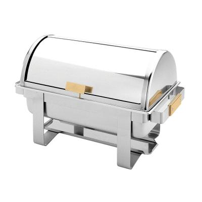 Stainless Steel 8 Qt. Roll Top / Golden Handle Chafer Set