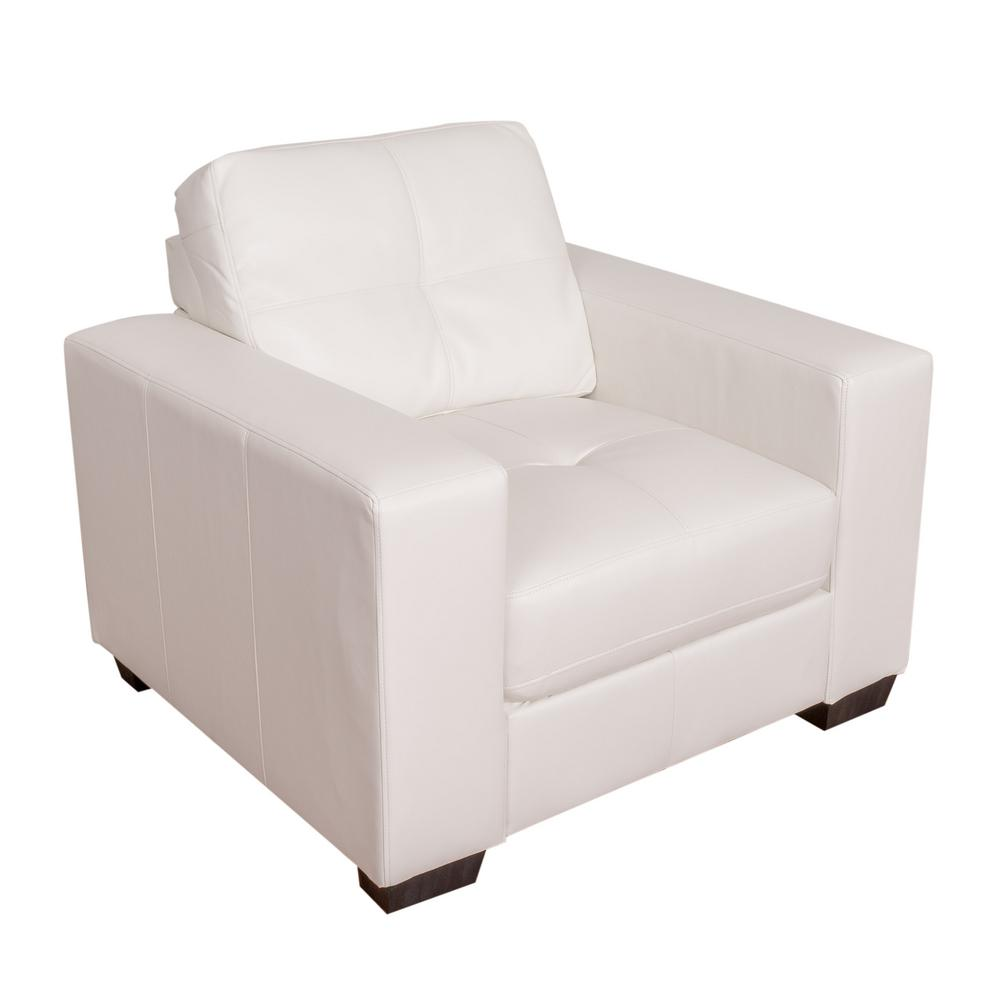 Beau CorLiving Club Tufted White Bonded Leather Chair