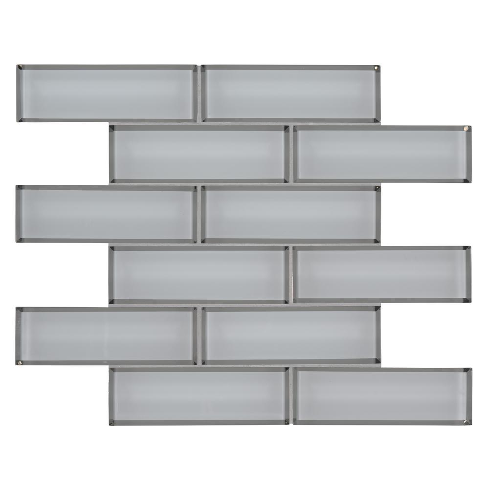 Msi Ice Bevel Subway 11 73 In X 11 73 In X 8 Mm Glass Blend Mesh Mounted Mosaic Tile 9 6 Sq Ft Case Glsst Icebe8mm The Home Depot