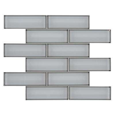 Ice Bevel Subway 11.73 in. x 11.73 in. x 8 mm Glass Mesh-Mounted Mosaic Tile (9.6 sq. ft. /case)