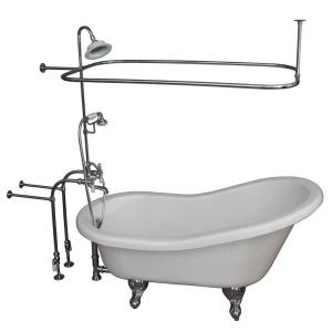 Barclay Products 5 ft. Acrylic Ball and Claw Feet Slipper Tub in White with Polished Chrome Accessories by Barclay Products