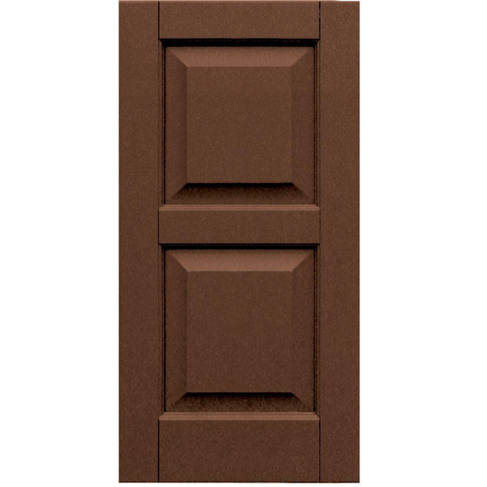 Winworks Wood Composite 15 in. x 30 in. Raised Panel Shutters Pair #635 Federal Brown