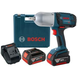 Bosch 18 Volt Lithium-Ion Cordless Electric 1/2 inch High-Torque Impact Wrench Kit with Hard Case by Bosch