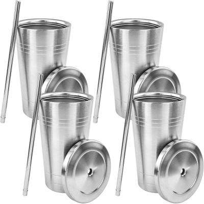 Stainless Steel Double Walled Insulated Cup with Straw and Lid (4-Pack)