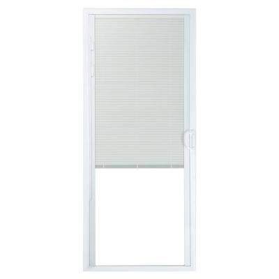 72 in. x 80 in. 50 Series White Vinyl Sliding Patio Door Left-Hand Moving Panel with Blinds