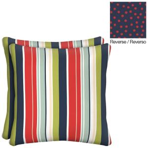 Reversible Francesca Stripe/Dots Square Outdoor Throw Pillow (2-Pack)