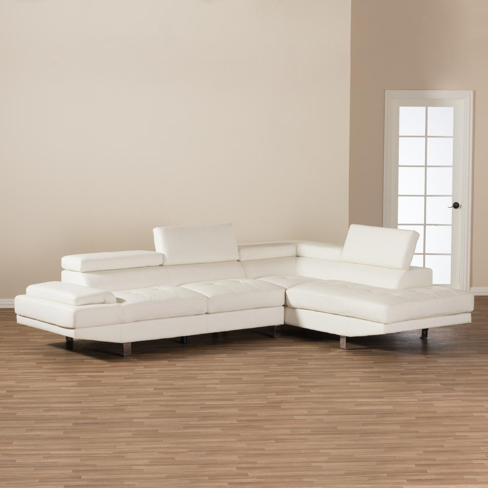 baxton studio selma 2piece modern white faux leather upholstered right facing chase sectional sofa