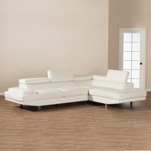 Baxton Studio Selma 2-Piece Modern White Faux Leather Upholstered Right Facing Chase Sectional Sofa by Baxton Studio
