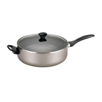 Dishwasher Safe 6 qt. Aluminum Nonstick Saute Pan in Champagne with Glass Lid