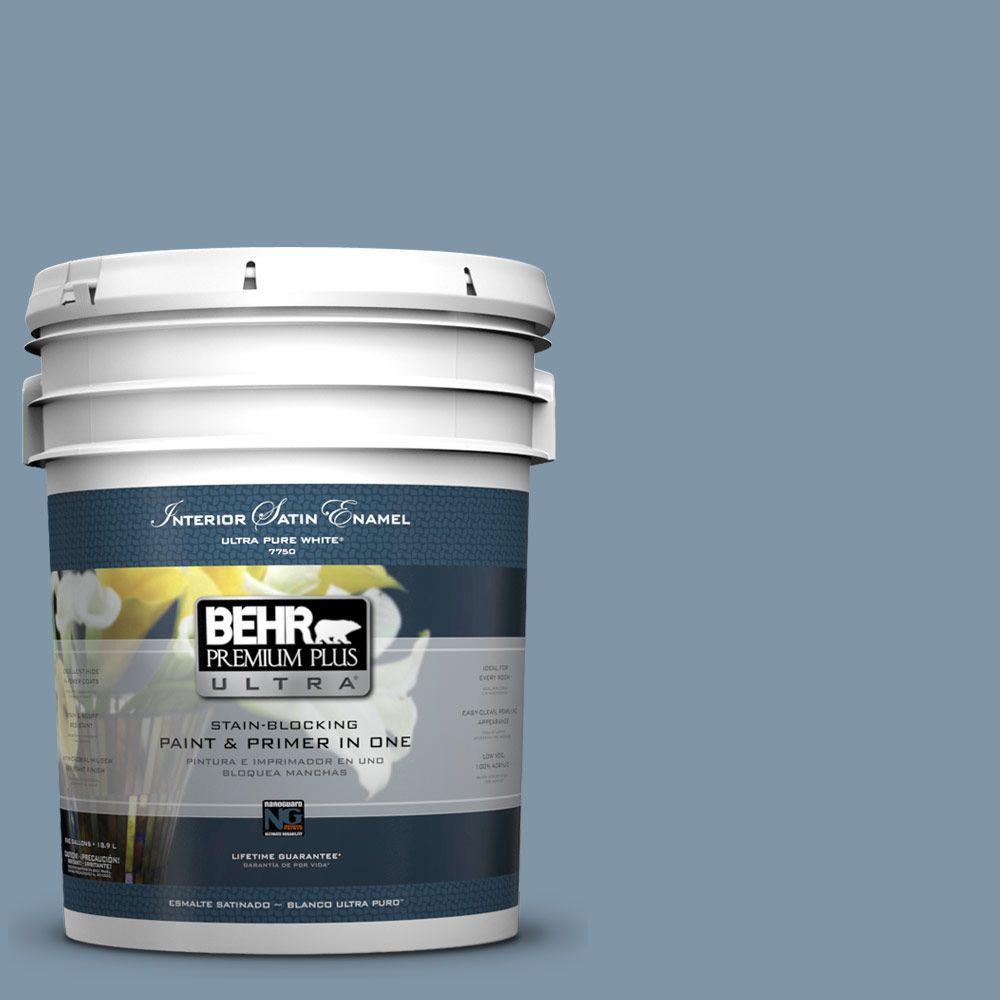 BEHR Premium Plus Ultra 5-gal. #560F-5 Bleached Denim Satin Enamel Interior Paint