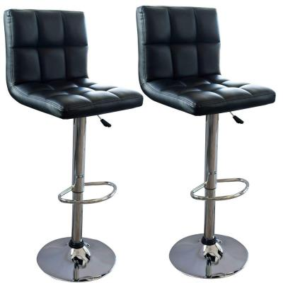Modern Style Adjustable Height Black Swivel Cushioned Bar Stool (Set of 2)