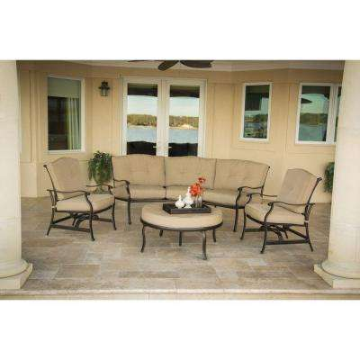 Outdoor Furniture Traditions 4-Piece Patio Seating Set with Natural Oat Cushions