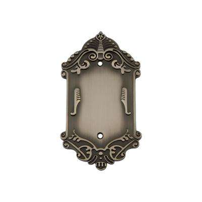 Victorian Switch Plate with Blank Cover in Antique Pewter