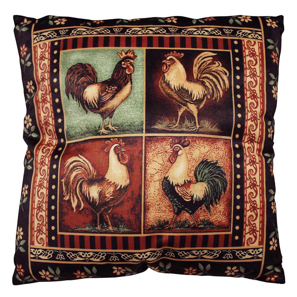 Bellagio Rooster 18 in. x 18 in. Square Accent Pillow