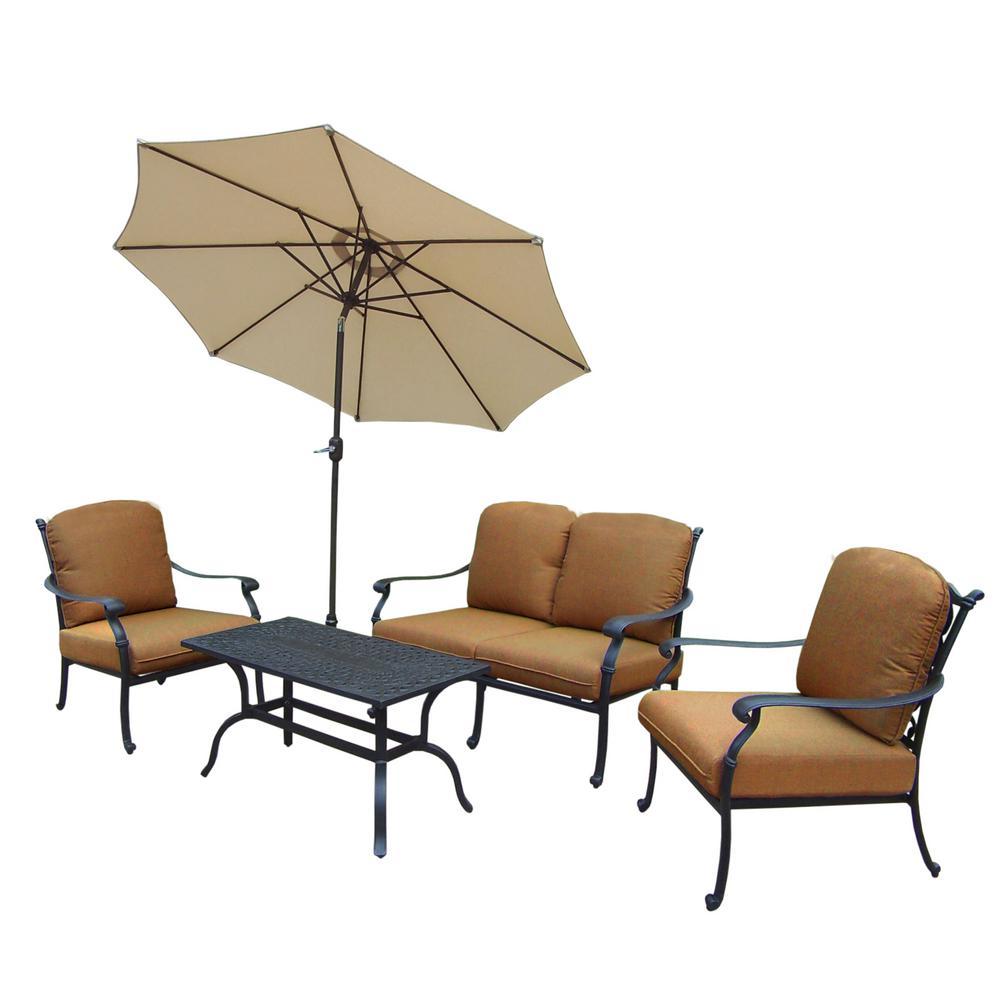 Hampton Cast Aluminum 6-Piece Patio Deep Seating Set with Sunbrella Tan Cushions and Umbrella