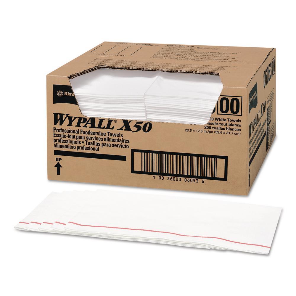 23 1/2 x 12 1/2 1/4 Fold X50 Foodservice Towels, White, 200 Per Carton