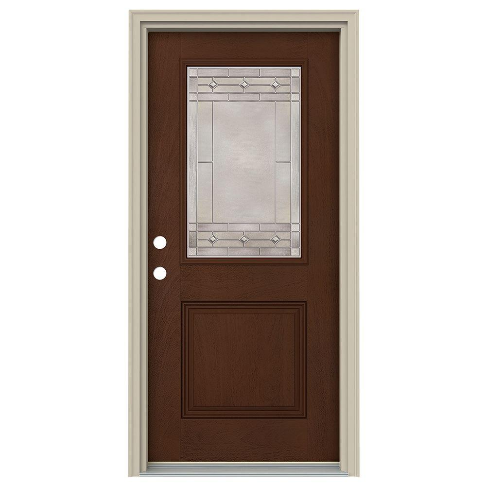 jeld wen 36 in x 80 in 1 2 lite sedona coffee bean stained