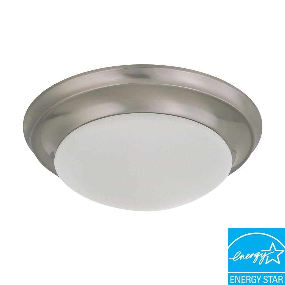 Green Matters Elektra 1-Light Brushed Nickel Flushmount with Frosted Glass