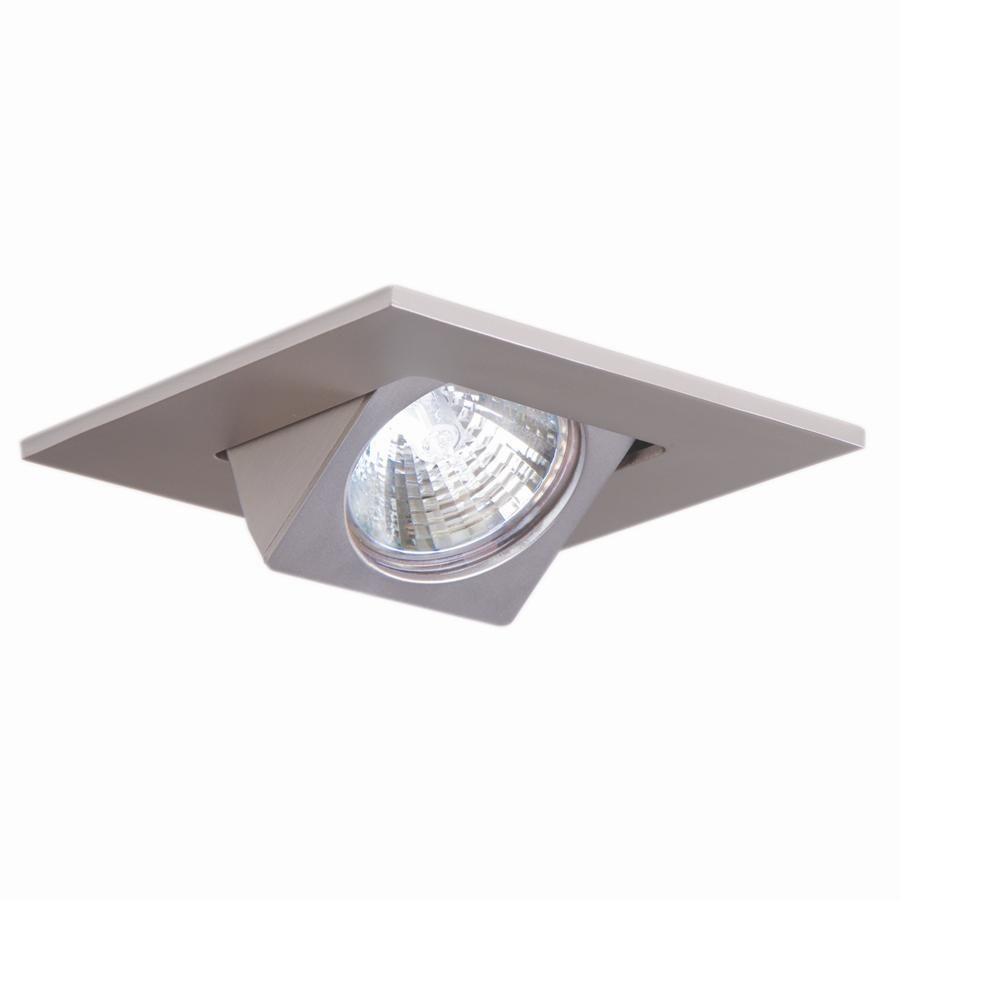 3 in. Satin Nickel Recessed Ceiling Light Square Adjustable Eyeball Trim