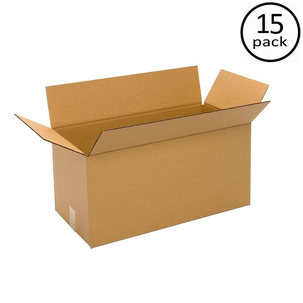 Plain Brown Box 24 in. x 12 in. x 12 in. 48 ECT Double Wall 15-Box Bundle