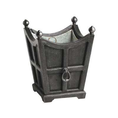 Tuxedo 16-1/2 in. Square Black Gal.vanized Wooden Planter