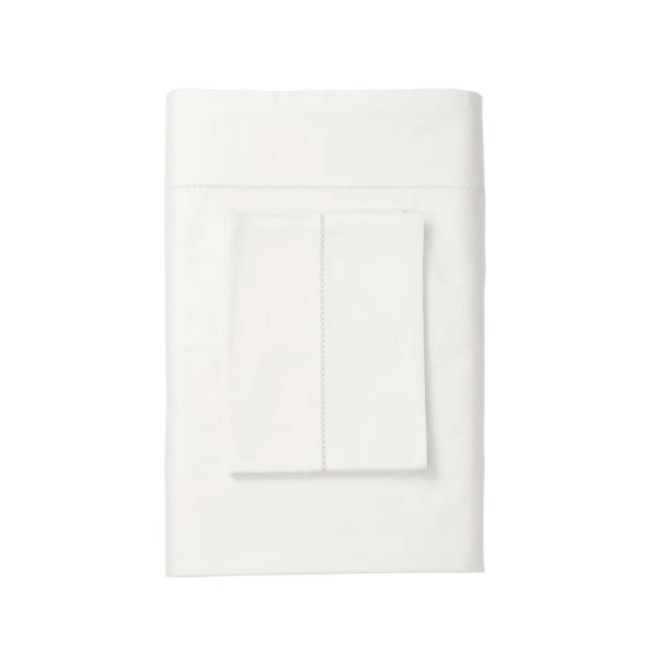 The Company Store Organic 300-Thread Count Cotton Sateen White Solid Twin