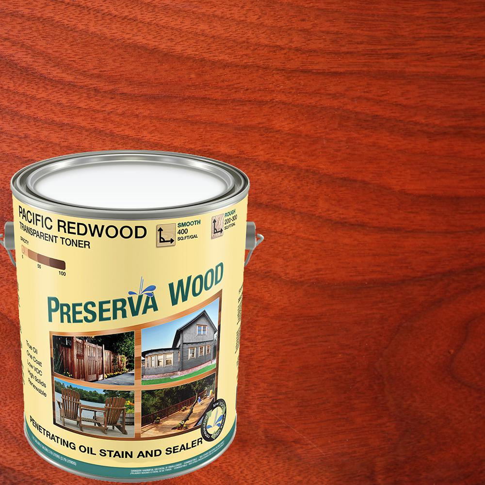 Preserva Wood 1 Gal. 100 VOC Oil-Based Pacific Redwood Penetrating Exterior Stain and Sealer