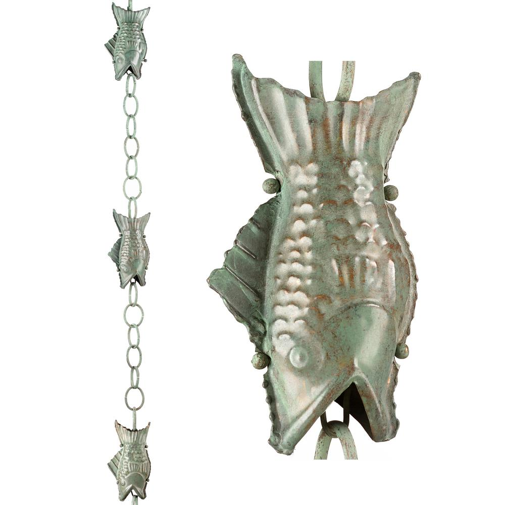 8.5 ft. Fish Pure Blue Verde Copper Rain Chain Leader