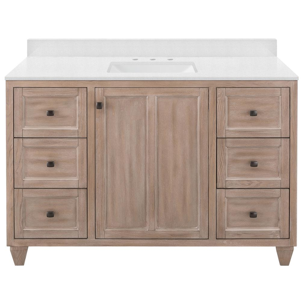 Home Decorators Collection Banks 49 in. W x 22 in. D Bath Vanity in Antique Ash with Engineered Marble Vanity Top in Snowstorm with White Sink