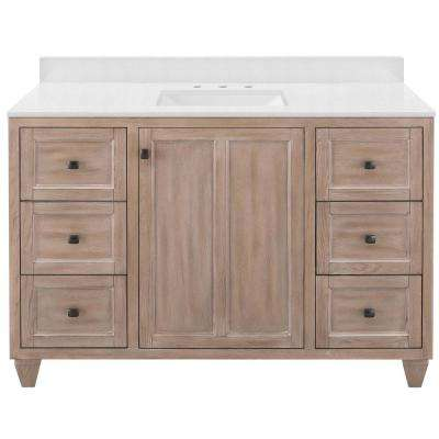 Banks 49 in. W x 22 in. D Bath Vanity in Antique Ash with Engineered Marble Vanity Top in Snowstorm with White Sink