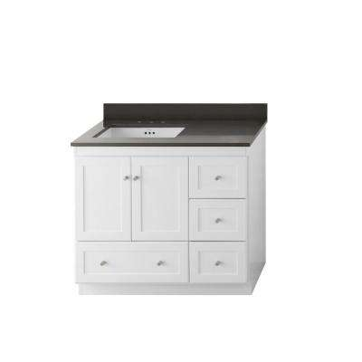 W Vanity In White With Quartz Top Stone Gray