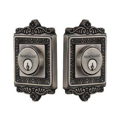 Egg and Dart Plate 2-3/4 in. Antique Pewter Backset Double Cylinder Deadbolt