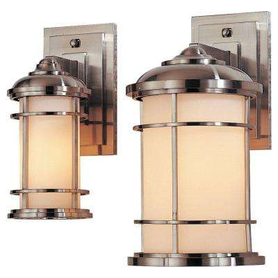 Lighthouse 1-Light Brushed Steel Outdoor 11 in. Wall Lantern Sconce