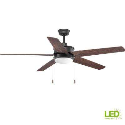 Whirl Collection 60 in. LED Forged Black Ceiling Fan