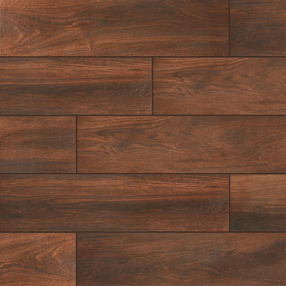 Daltile evermore autumn wood 6 in x 24 in porcelain for Tile and hardwood floor