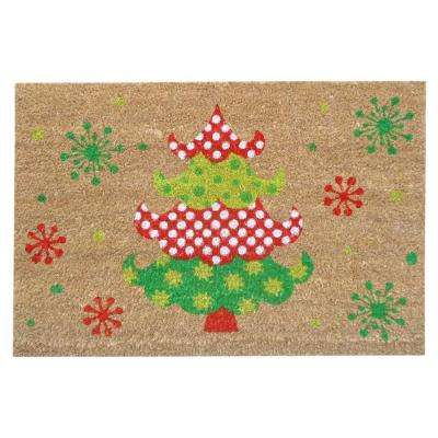 Holly Jolly Tree 16 in. x 24 in. SuperScraper Vinyl/Coir Door Mat