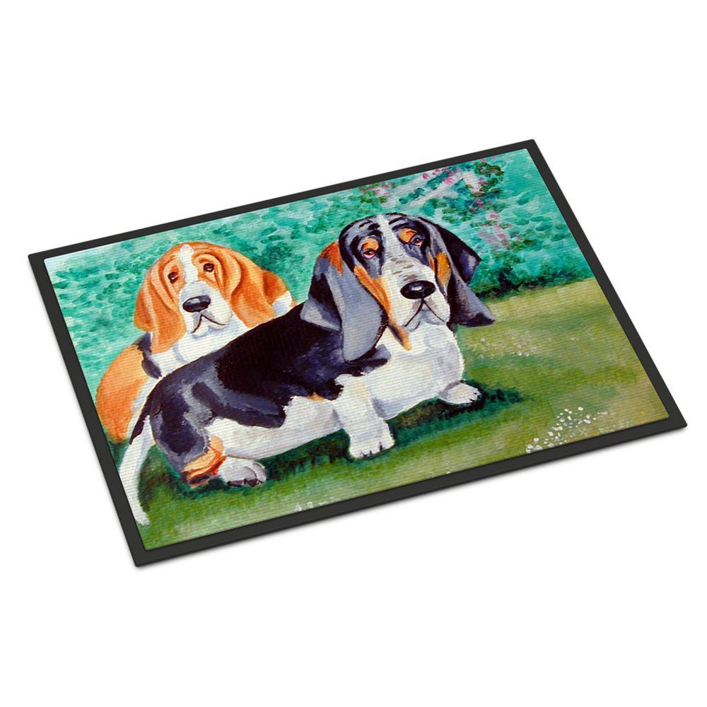Carolines Treasures Basset Hound Double Trouble Indoor or Outdoor Doormat Multicolor 18 x 27