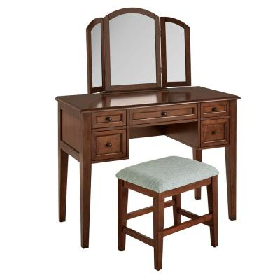 Belford Walnut Finish Vanity Set with Tri-fold Mirror and Upholstered Stool (42.90 in W. X 54.10 in H.)