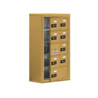 19100 Series 17.5 in. W x 31 in. H x 9.25 in. D 8 Doors Cell Phone Locker Surface Mount Resettable Lock in Gold