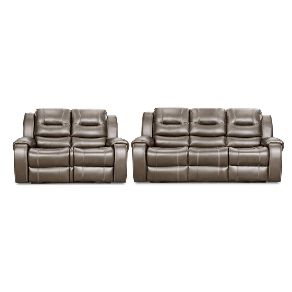 Cambridge Clark 2-Piece Gray Sofa, Loveseat Living Room Set ...