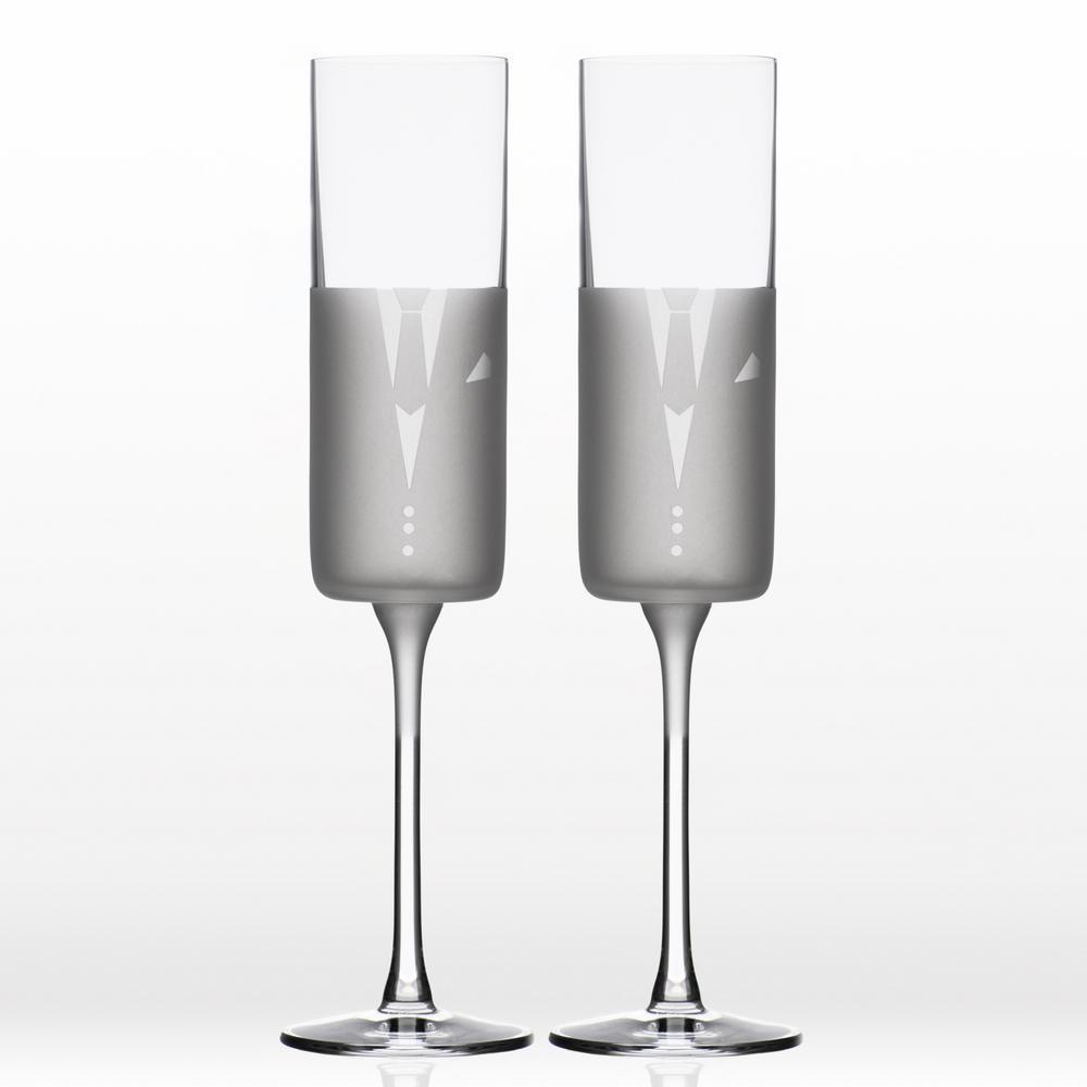 5.75 oz. Flute Wedding Cheers Romance (Suit/Suit) (Set of 2)